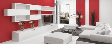 Upmarket modern living room interior with vivid red accents and